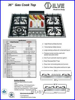 ILVE 36 Gas Cooktop- NG 5 Burners + Griddle Stainless Steel