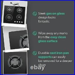 IQ 4 Burner 60cm Gas on Glass Hob cast iron pan supports