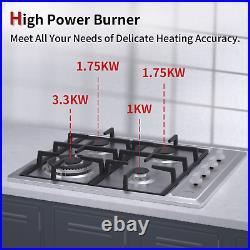 IsEasy 24 Gas Cooktop in Stainless Steel, 4 Burners, Built-in, LPG/NG Gas Hob