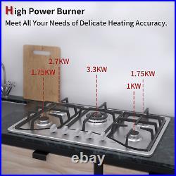 IsEasy 30 Cooktop Gas Stainless Steel Built-in 5 Burners Stove LPG/NG Gas Hob