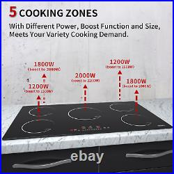 IsEasy 36 Electric Induction Cooker, Built-in, 5 Zone/Burner, Touch Control Hob US