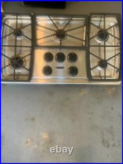 Kitchen-Aid 5 burner 36 inch gas cooktop with integrated downdraft