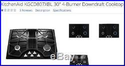KitchenAid KGCD807XBL 30 Black 4 Burner Gas Downdraft Cooktop NIB #28196 HL