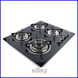 LPG/NG Gas Cooktop 23.3 4 Burners Built-in Stove Tempered glass Surface Cooker
