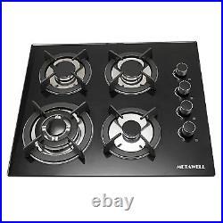 METAWELL 23.6 GAS Tempered Glass Panel Hob Cooktop Stove Cook Top 4 Burner #US