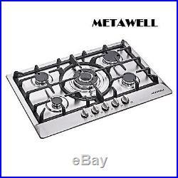 METAWELL 30 Stainless Steel 5 Burner Built-In Stoves NG LPG Gas Cooktop Cooker