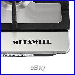 METAWELL 30 Stainless Steel 5 Burner Built-in Stoves LPG/NG Gas Cooktops Cooker