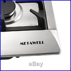METAWELL 30'' Stainless Steel 5 Burner Cook top Built-In Stoves NG LPG Gas Hob