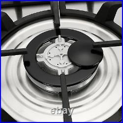 METAWELL 30 Stainless Steel 5 Burners Gas Hob Cooktops NG/LPG Built-In Stoves