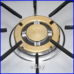 METAWELL 30 Stainless Steel Gold Burner Built-in 5 Stoves Natural Gas Cooktops