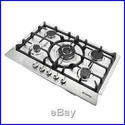 METAWELL 3KW 30 GAS Stainless Steel Cooktop Stove Cook Top 5 Burner, Silver, US