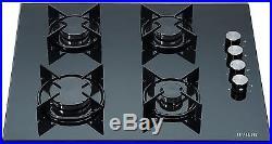 MILLAR GH6040XEB-ET 4 Burner Built-in Gas on Glass Hob 60cm Enamelled Trivets