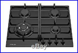 MILLAR GH6041TB 4 Burner Built-in Gas on Glass Hob 60cm Black with Wok Burner