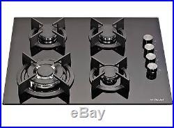 MILLAR GH6041XEB 4 Burner Built-in 60cm Black Gas on Glass Hob