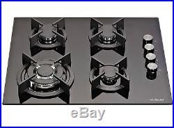 MILLAR GH6041XEB 4 Burner Built-in 60cm Black Gas on Glass Hob with Wok Burner