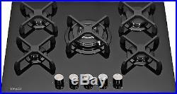 MILLAR GH7051KB 5 Burner Built-in Gas on Glass Hob 70cm Black