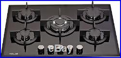 MILLAR GH7051PB 5 Burner Built-in Gas on Glass Hob 70cm with Wok Burner