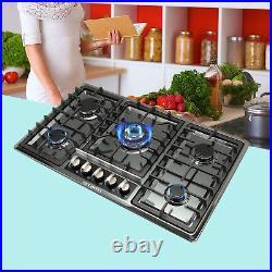Metawell 34'' Black Titanium Gas Cooktop Home Kitchen 5 Burners Stove NG LPG