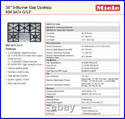 Miele KM3474LP 36 Liquid Propane Gas Cooktop 5 Burners 2 Wok Stainless Steel