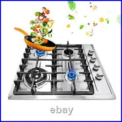 NG/LPG Cooktop 23 4 Burners Built-in Stove Stainless Steel Cooker Cook top US