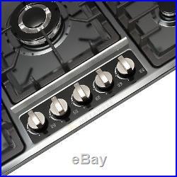 NG/LPG Cooktop 34 Black Titanium Steel 5 Burners Gas Stoves Hob Fixed Cooktop