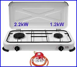 NJ-02 Portable Gas Stove 2 Burner Hob Enamel Lid Camping Outdoor Propane 3.4kW