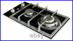 NJ Domino-302G Gaskochfeld Glas Gaskocher 2 flammig Propan / Erdgas 5,2 KW