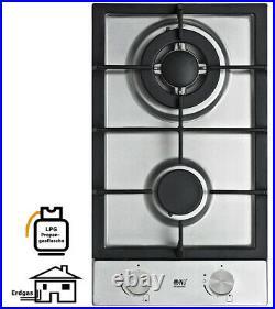NJ Domino-302S Gaskochfeld Edelstahl Gaskocher 2 flammig 5,2 KW Propan / Erdgas
