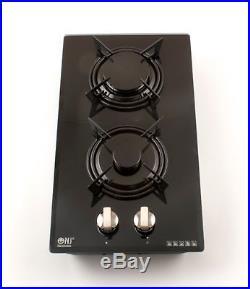 NJ Domino-G Built-in Gas Hob 2 Burner 30cm Cooktop Black Ceramic Glass LPG FFD