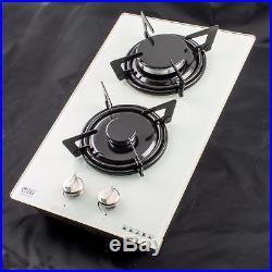 NJ Domino-G Built-in Gas Hob 2 Burner 30cm Cooktop White Ceramic Glass LPG FFD