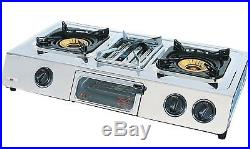 NJ G-87C Portable 70cm Gas Stove 3 burner Grill Oven with Lid Camping Hob 9.7kW