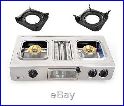 NJ GC-87 Portable 70cm Gas Stove 3 burner Grill Oven Camping Cooker LPG 9.7kW