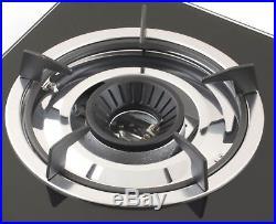 NJ NGB-S2 Gas Stove 2 burners Cooker Black Glass Hob Indoor Caravan 6.8kW NEW