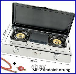 NSD-2C Edelstahl Gaskocher 2 flammig mit Deckel 9 KW Zündsicherung Campingkocher