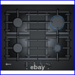 Neff N70 59cm Gas-on-glass Four Burner Gas Hob with Cast Iron Pan Stands Black