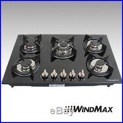 New 30 Black Tempered Glass Built-in Kitchen 5 Burner Gas Hob Cook Top Cooktops