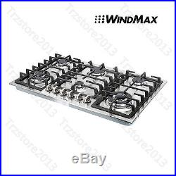 New 34 Stainless Steel 6 Burner Built-In Stove NG Gas Cooktops Household Cooker