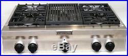 New KitchenAid 36 Stainless Steel Commercial Gas Cooktop With Grill KGCU462VSS
