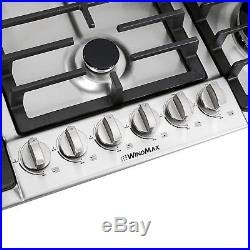 New Type 34 Stainless Steel 6 Burner Built-In Stove NG Cooktops Home Cooker