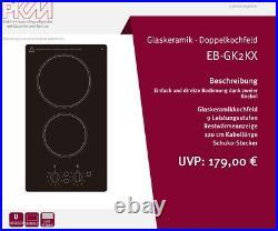 PKM Kochfeld Glaskeramik schwarz Autark 2er Doppelkochfeld 230V Drehschalter
