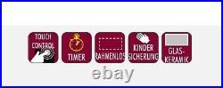 PKM Kochfeld autark Einbaukochfeld 60cm Glaskeramik schwarz TIMER Touch rahmelos