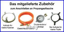 #PS-3 Gaskocher 3 flammig 8,8 KW Glas Propan Campingkocher mit Zündsicherung