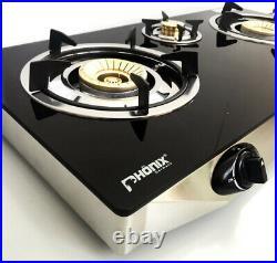 PS-3 Gaskocher 3 flammig 8,8 KW Glas Propan Campingkocher mit Zündsicherung