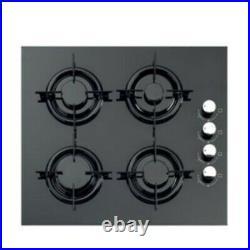 Piano Cottura a gas in Vetro Nero 4 Fuochi con Griglia in Ghisa 52x60 Cm