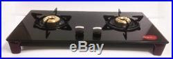Pigeon Black Glass Top 2 Brass Burner Gas Stove Cooktop Hob Lpg Propane Sleek