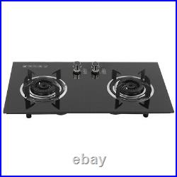 Portable 2 Burner Camping Gas Stove Tempered Glass 73cm Cooktop Indoor & Outdoor