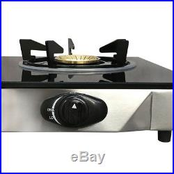 Portable 28 Glass Top Propane Double Stove Dual Gas 2 Burner 20,000 BTU/h