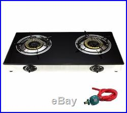 Propane Gas Range Stove Deluxe 2 Burner Tempered Glass Cook top Auto Ignition