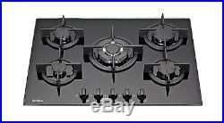 SAGA Elegans X751-B 70cm Built-in 5 Burner Gas Hob/Cooktop with Tempered Glass