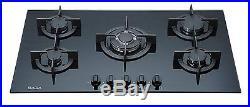 Saga Elegans X951-B 90cm 5 Burner Built-in Gas on Glass Hob & Cast Iron Trivets